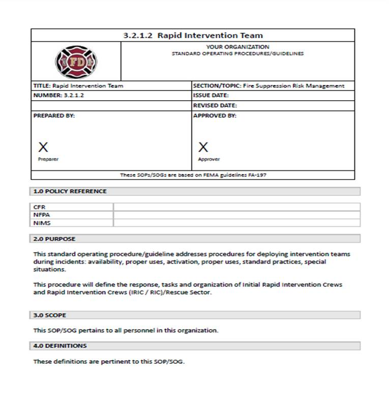 SOP Center SOP SOG Template – Template for Sop
